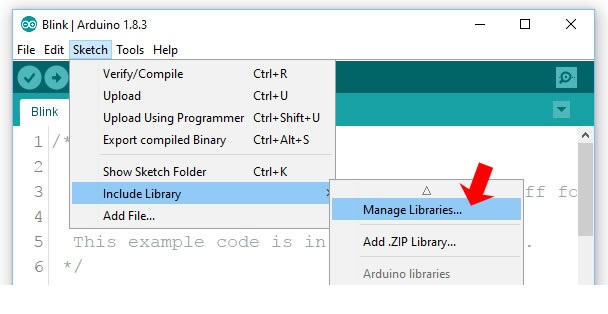 Arduino library manager